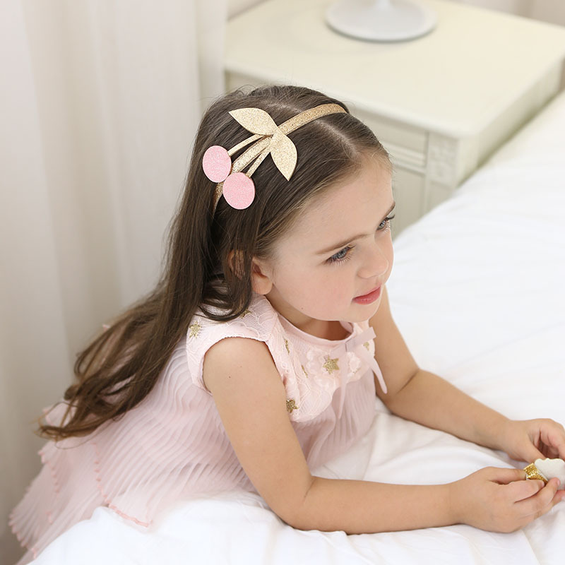 2017 New special flash cloth cherry hairband hoop Princess crown headbands Lovely hair accessories for girl kids hair ornament pinup rockabilly special retro atmosphere beautiful generous banquet hoop rabbit ear