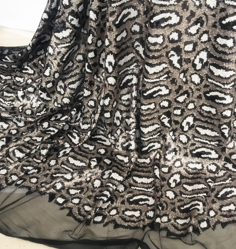 Gold Black Grey Leopard Sequin Fabric Embroidery Mesh Stretch Fashion Show Stage Party Dress Fabrics 1 yard