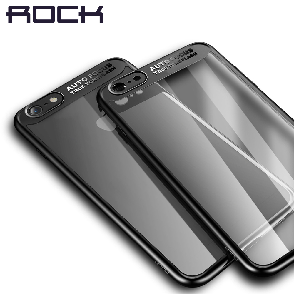Galleria fotografica Case for iPhone 6 6S 6 Plus ROCK Ultra-Slim Transparent PC+TPU Silicone Shockproof Back Cover Coque for iPhone6S Protection Case