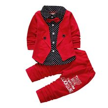 Baby boys clothes gentleman Suit Spring fall kids clothes Toddler girls clothes children clothing set Kid birthday dress wear(China)