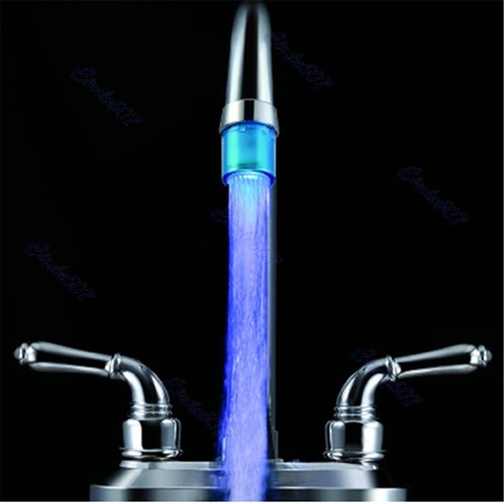 Ванная комната Кухня Мини Blue Glow светодиодный световой поток воды кран LD8001-A8 # D2074 #