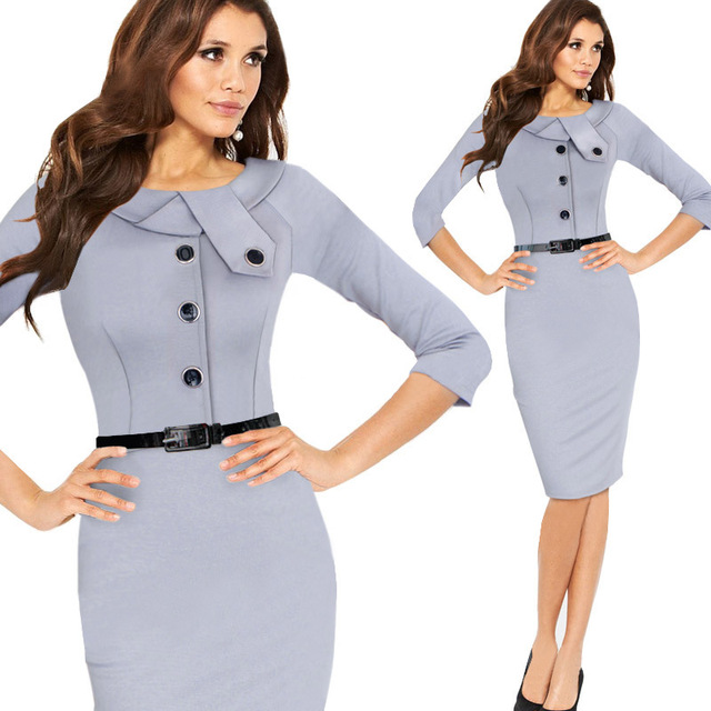 7f3235beb898d High Waist Three Quarter Sleeve Work Office Business Casual Party Dress O-neck  Women Dresses Vestidos Robes Bodycon Pencil Dress