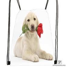 Custom dog-with-flower Drawstring Backpack Bag Cute Daypack Kids Satchel (Black Back) 31x40cm#180611-03-105