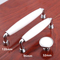 "5"" modern simple silver white furniture handles white ceramic dresser kitchen cabinet door handles chrome drawer knob 128mm 96mm"