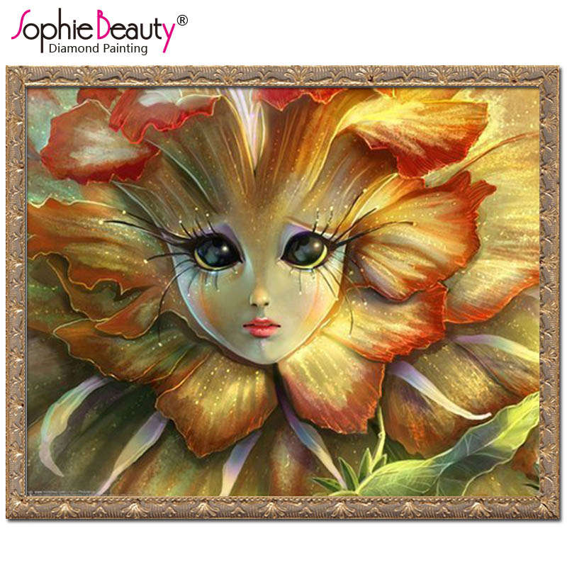 Sophie Beauty home Diy Diamond Painting Cross Stitch Pastoral Embroidery Angle Face Flower Square Direct Selling Flower Mosaic