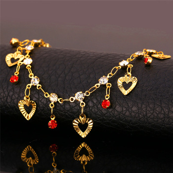U7 Trendy Heart Anklet Summer Jewelry Gift Red Crystal Gold Color Ankle Foot Chain Bracelet For Women A301 1