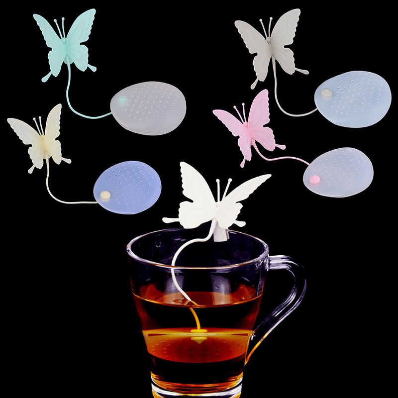 1Pcs Butterfly Tea Bags Strainers Silicone Filter Tea Infuser Silica Cute Teabags for Tea & Coffee Drinkware