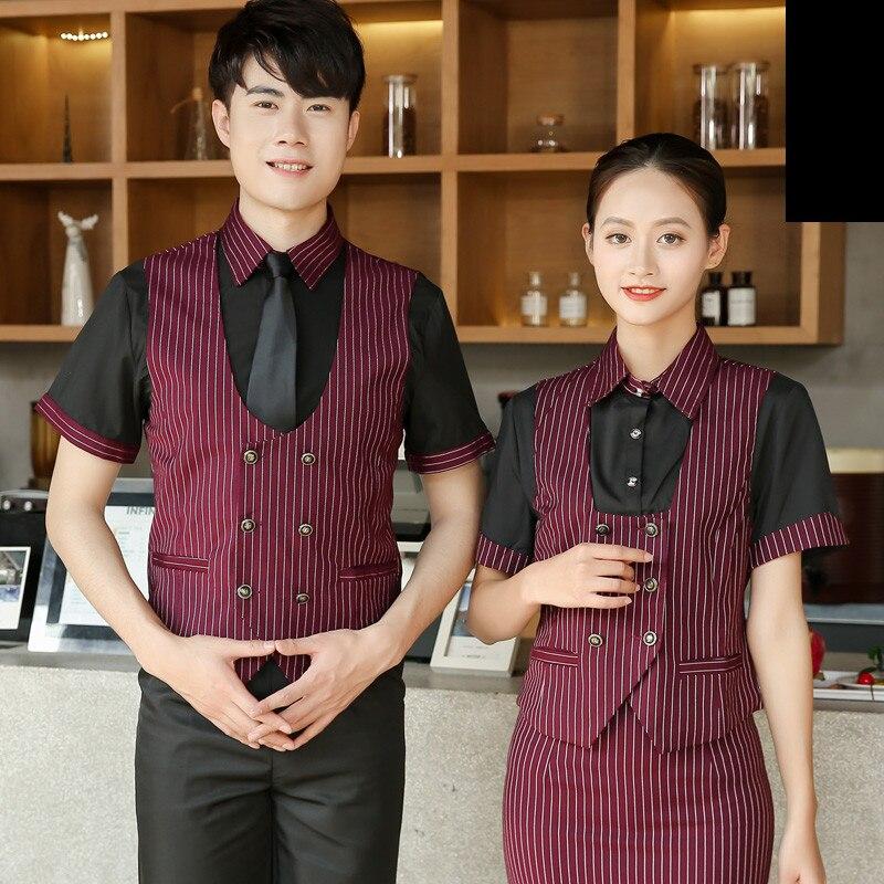 Short Sleeve Chinese Hotel Work Uniforms Striped Fake Two-piece Waiter Clothes Bar Work Wear Restaurant Waitress Uniform