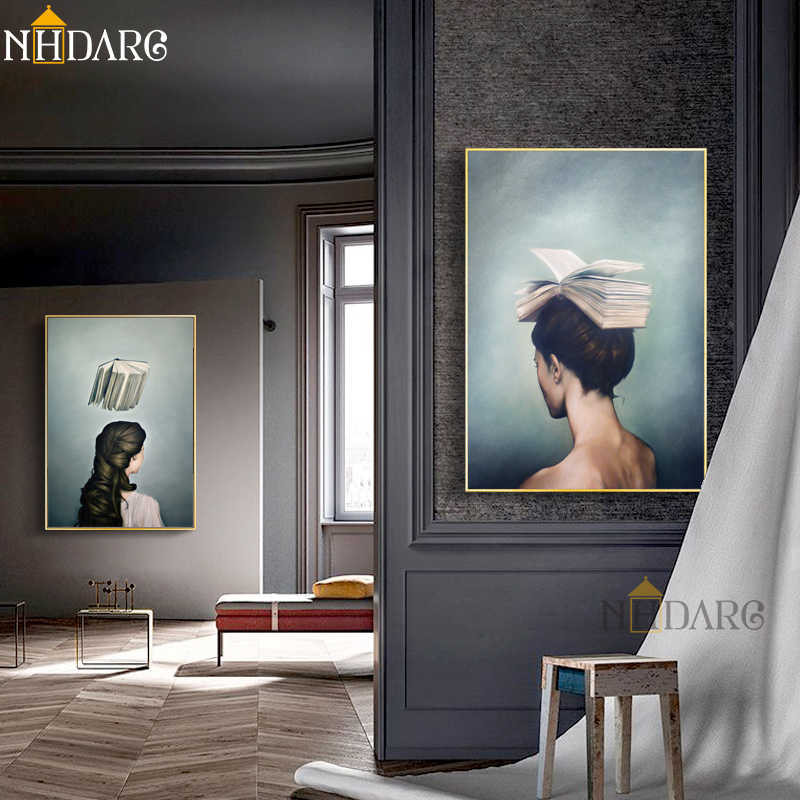 Surrealist Girls and Books Design Canvas Painting Modern Posters And Prints Art Wall Pictures For Living Room Home Decor