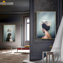 Surrealist Girls and Books Design Canvas Painting Modern Posters And Prints Art Wall Pictures For Living Room Home Decor books for living