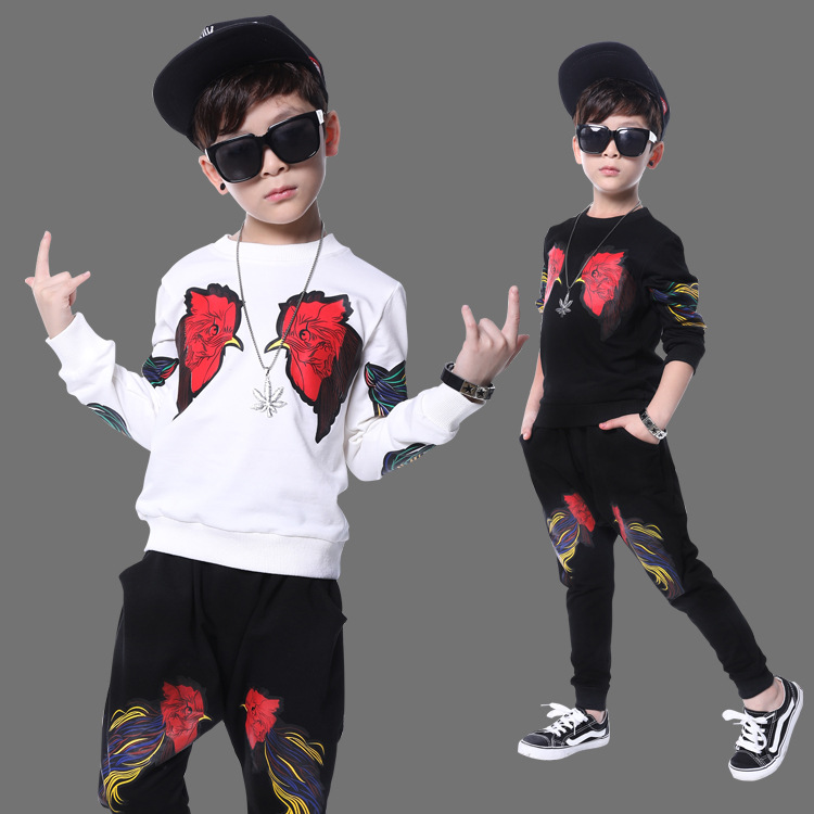 2017 New Kids Clothes Autumn Boys Clothing Set Long Sleeve T-shirt +  Pants 2pcs Sport Suit Children Clothes Set Costume 13 14 T autumn boys clothing set baby boys 3pcs set outfits black jacket long sleeve t shirt denim long pant children clothes boys 4