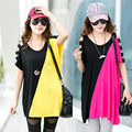 2015 O neck Fashion Knitted Short Hole Long Solid Batwing Sleeve Contrast Color T-shirt Top Plus Size Tunic Tops