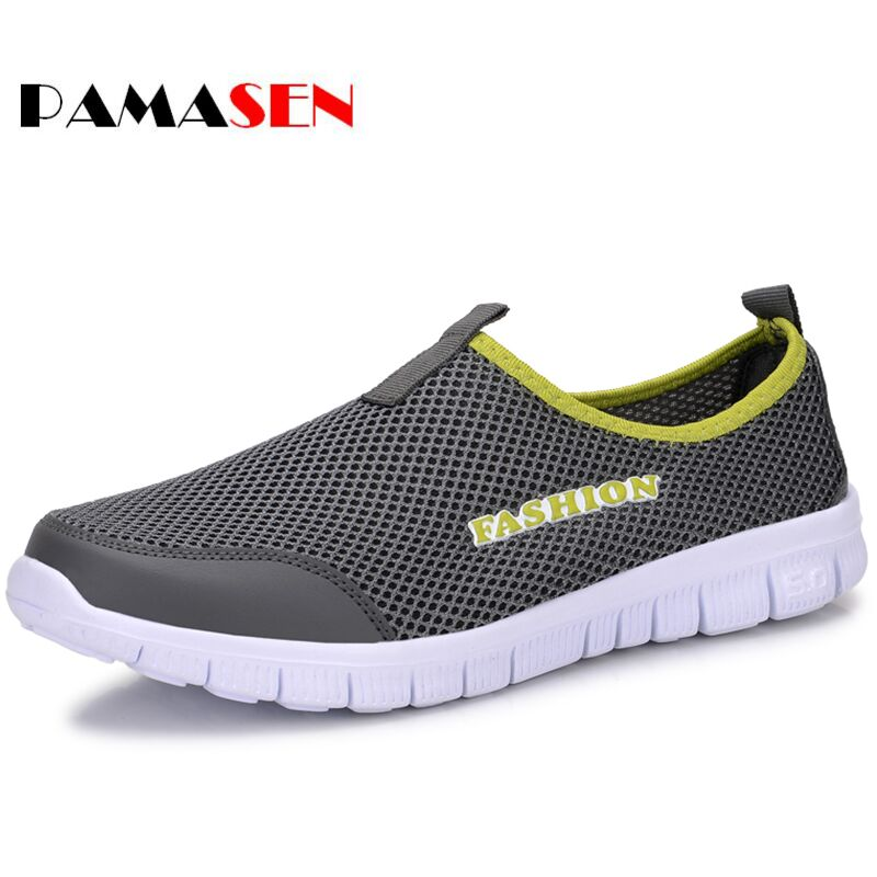 PAMASEN Summer Men Casual Shoes Men's Solid Breathable Lazy Shoes Male soft bottom shoes Plus Size 38-46 Slip-on Network Shoes