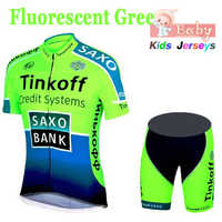 2018 Breathable Tinkoff Kids Cycling Jersey Set Shorts Fluorescent Pink Children Bike Clothing Boys Girls Summer Bicycle Wear