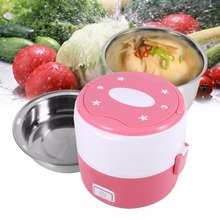 Stainless Steel Electric Heating bento Box Rice Cooker Food Box Mini Electric Steamer 2 Container Thermal storage Box Picnic