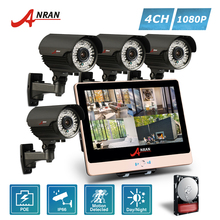 ANRAN 4CH 1080P 12 Inch LCD Monitor POE NVR Home Security System 78 IR 2.8-12MM lens Waterproof CCTV Camera Outdoor HDD Optional