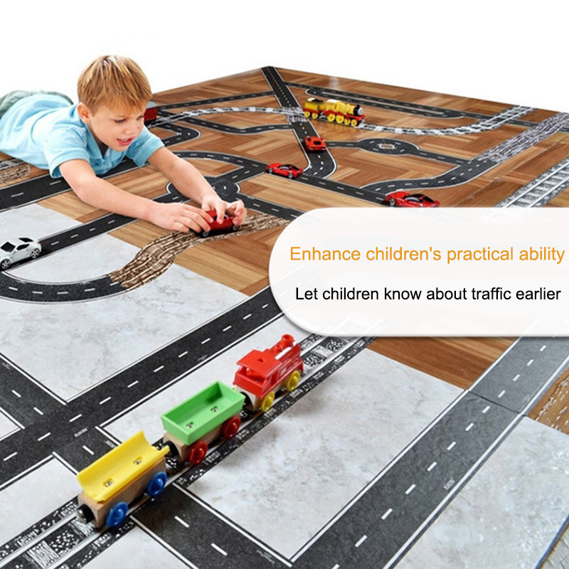 Road Tape For Car Toys Car Runway Adhesive Tape Play Room Floor Sticker Removable Track  BM88