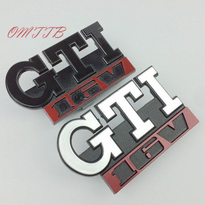 GTI 16 V Grille Emblème Rhinocéros Tuning pour vw GOLF MK2 MK1 GTI 16 V De Voiture Grille Grill Badge GOLF Mat CHROME 3D ABS Insigne de voiture style