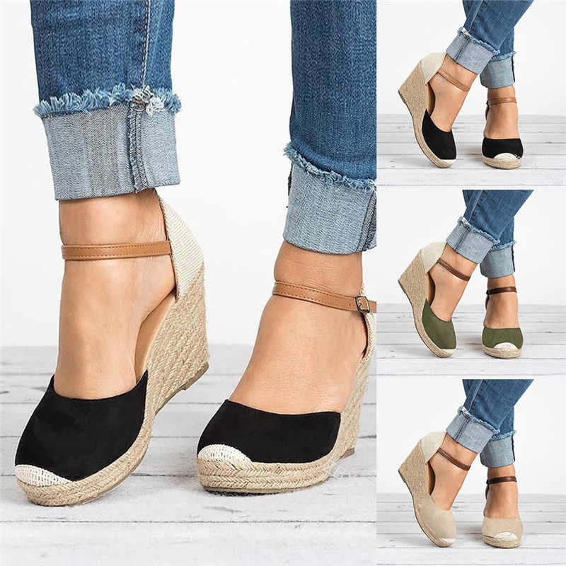 Puimentiua Women Shoes Suede Wedges High Ankle Sandals Round Toe Casual Shoes 2019 New High Slope Round Head Sandals Casual Shoe