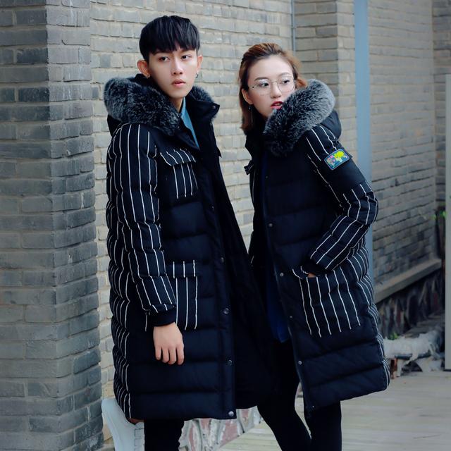 2016 otoño invierno nueva moda en el largo párrafo de jóvenes amantes espesar gran tamaño de la chaqueta de algodón caliente personalidad caliente venta