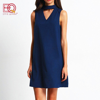 summer dress women Chiffon office Dress elegant V neck Bow Sleeveless Casual dresses solid a line ladies blue Mini vestidos