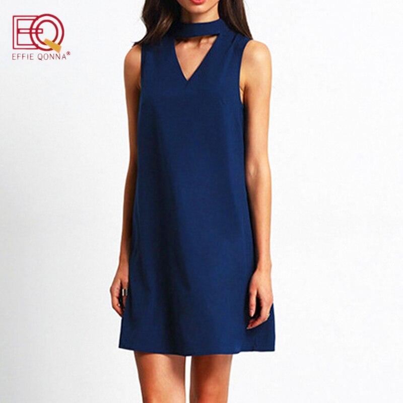 2018 robe d'été femmes En Mousseline de Soie Robe de bureau élégant V cou arc Sans Manches Casual robes solide une ligne dames bleu Mini robes
