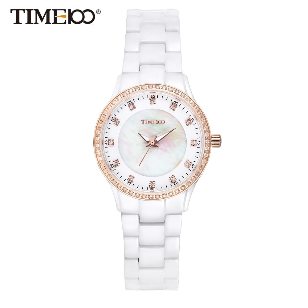 Time100 Women's ceramic Watches Luxury Fashion white High Density Ceramic Strap Diamond Shell Dial Wrist Watch relogios feminino  pure white dial face ziz time watches navy