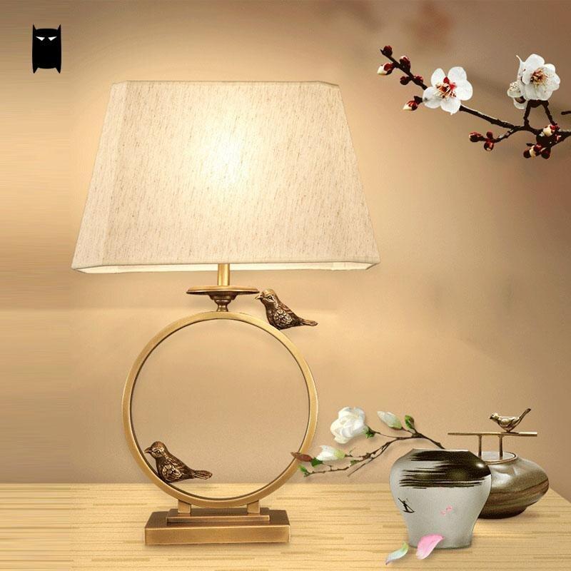 Cuivre noir oiseau en laiton tissu abat-jour lampe de Table luminaire de luxe nordique bureau lumière veilleuse chambre de chevet salon étude