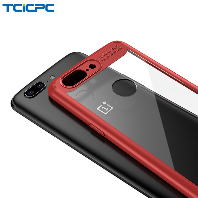 low priced 8befe 02c0d US $3.99 20% OFF|Aliexpress.com : Buy TCICPC For Oneplus 5 Case One Plus 5T  Slim Silicone Frame+ Transparent Hard Protective Back Cover For Oneplus 5T  ...