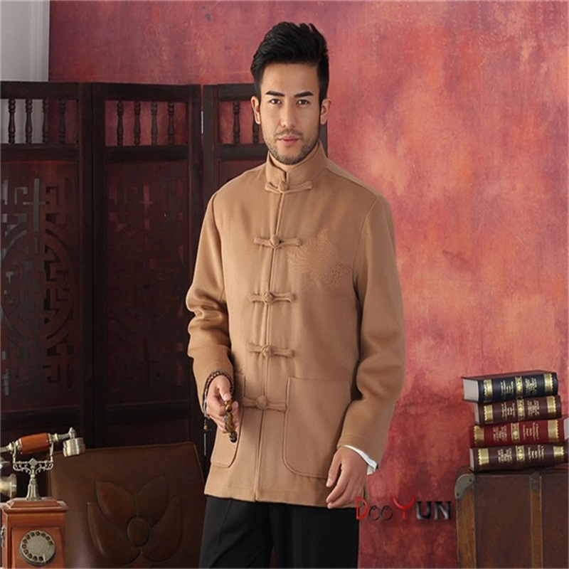 Jackets Men's Clothing Winter Hottest Gold Men Velour Thick Overcoat Chinese Traditional Embroidery Jacket Tang Suit Size M L Xl Xxl Xxxl