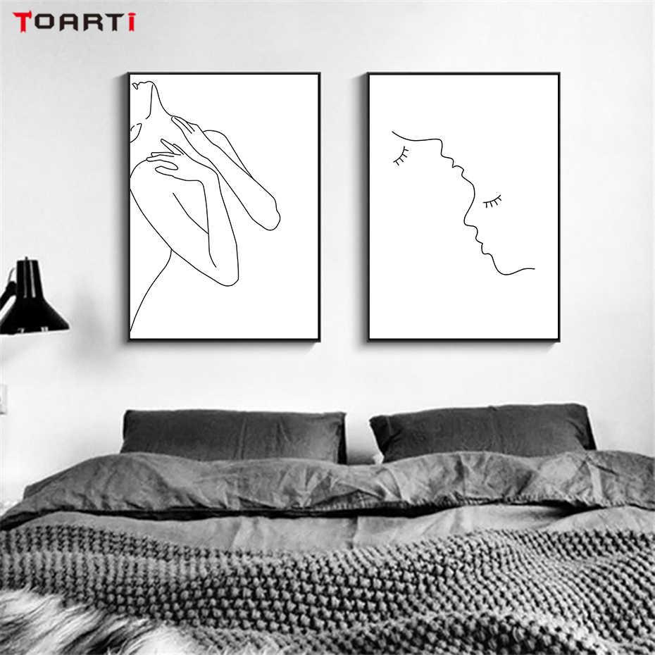 مثير النساء الجسم الشمال المشارك و طباعة خط الرسم الحديثة حائط لوح رسم الفن جدارية وحدات الصورة الفتيات غرفة نوم ديكور المنزل
