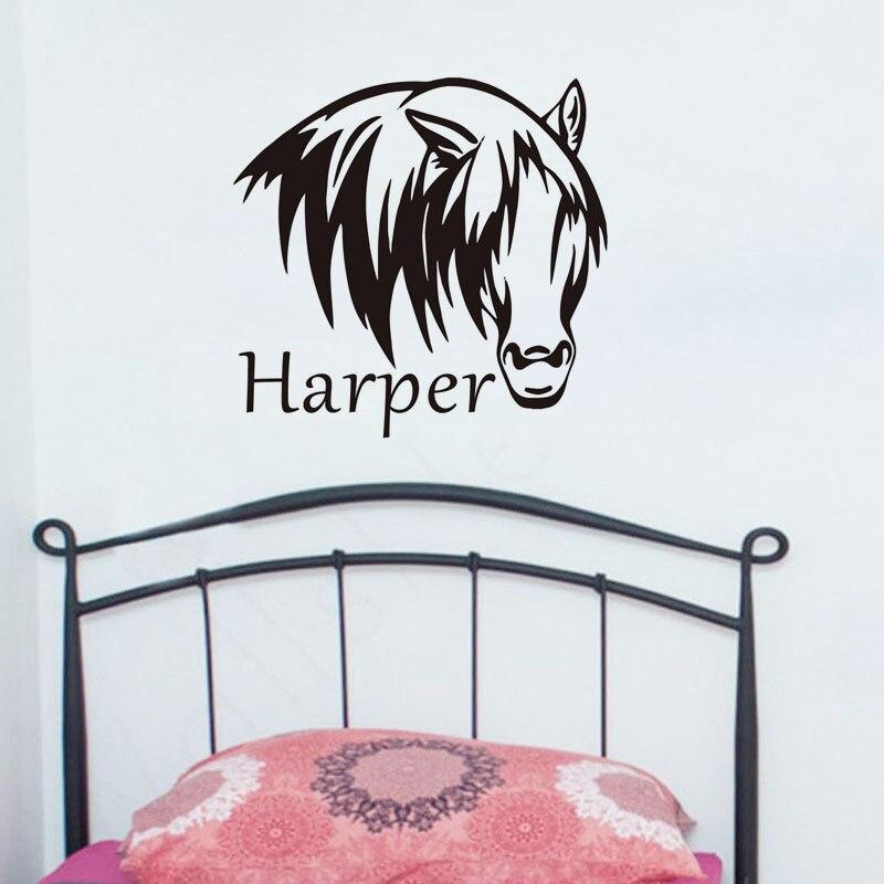 Customized Wall Art aliexpress : buy horse head decals wall art sticker customized