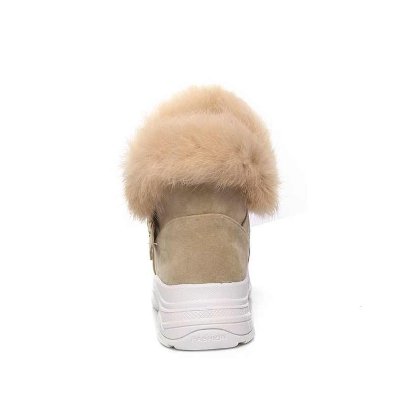 EGONERY kadın kar botları yeni akın kış med takozlar platformu toka siyah ve kayısı yuvarlak toe slip-on ayakkabı patik kış