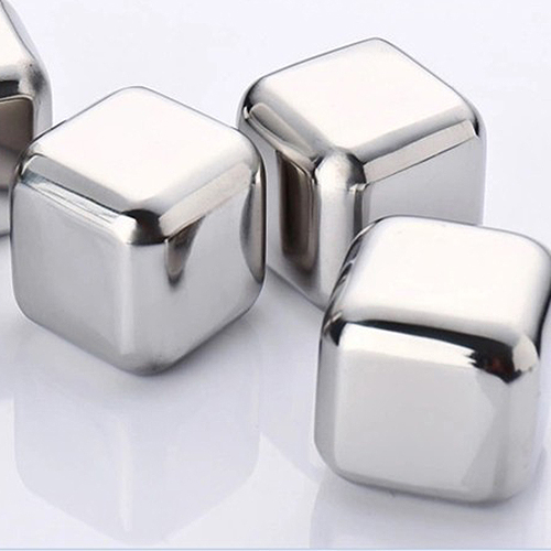 PHFU Best 4Pcs Whiskey Wine Beer Stones 440C Stainless Steel Cooler Stone Whiskey Rock Ice Cube Edible Alcohol Physical Cooled