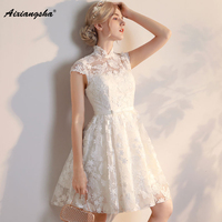 High Neck A Line Knee Length Customized New arrival Appliques Sequined Short Sleeves Lace Up Back Short Prom Dresses Elegant