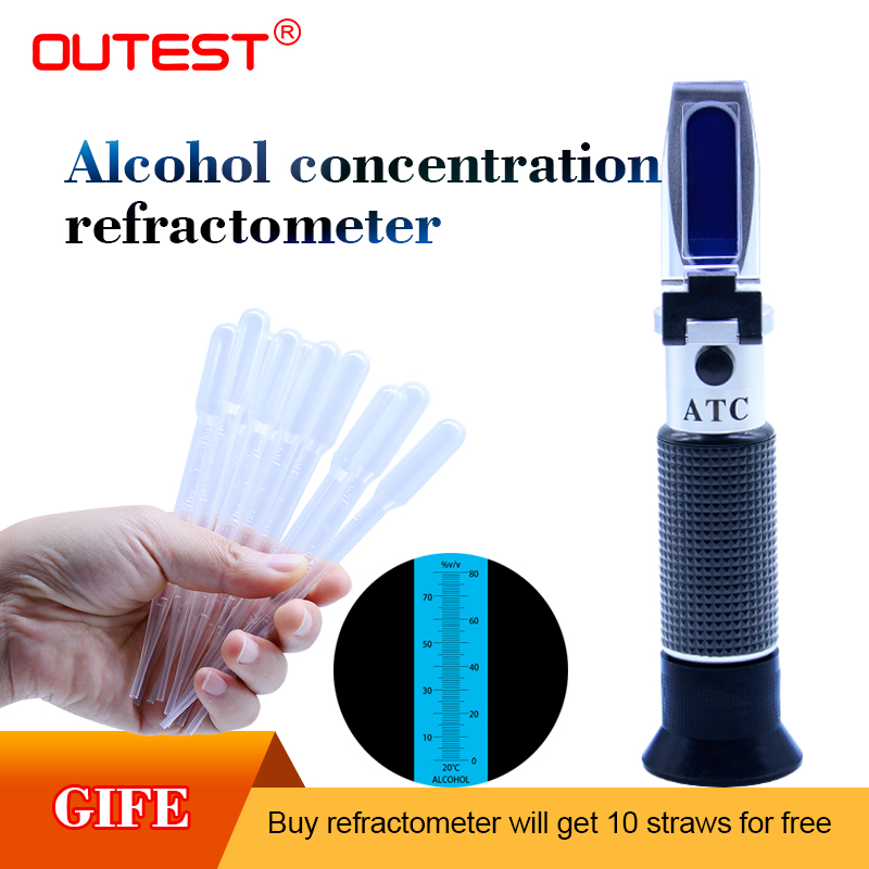 Handheld alcohol concentration refractometer 0-80%,alcohol meter graduation 1% sugar alcohol tester refractometer RZ122 alcohol refractometer for spirit alcohol volume percent measurement with automatic temperature compensation atc range 0 80%