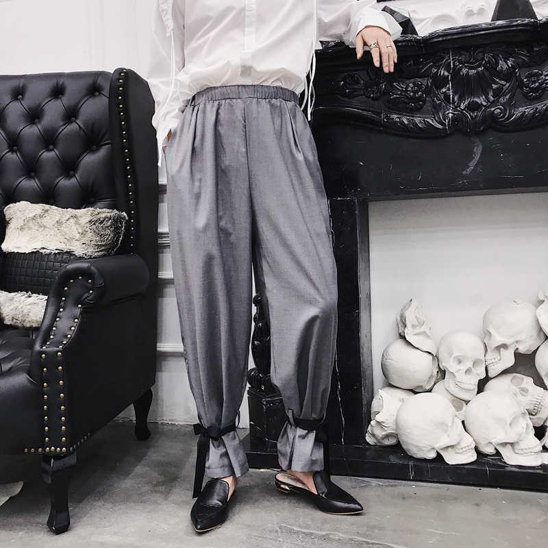 MIXCUBIC 2018 sonbahar kore tarzı harem takım elbise pantolon erkekler rahat gevşek ayak tether havuç harem pantolon erkekler için pantolon, M-2XL