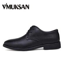 VMUKSAN/Новые мужские оксфорды в деловом стиле с острым носком, мужские строгие туфли итальянские Стильные Классические туфли мужские роскошные брендовые кожаные туфли на плоской подошве