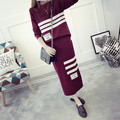 Hot Autumn Winter Cropped Top and Skirt Set 2017 Two Piece Set Women Sweater Top Knitted Skirt Suit Stripe Letter Print 1179