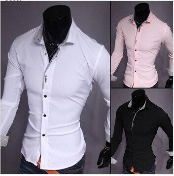 5487f967f001 Free shipping Men's Stylish Casual Trim Slim Fit men Name Brand Dress Shirts