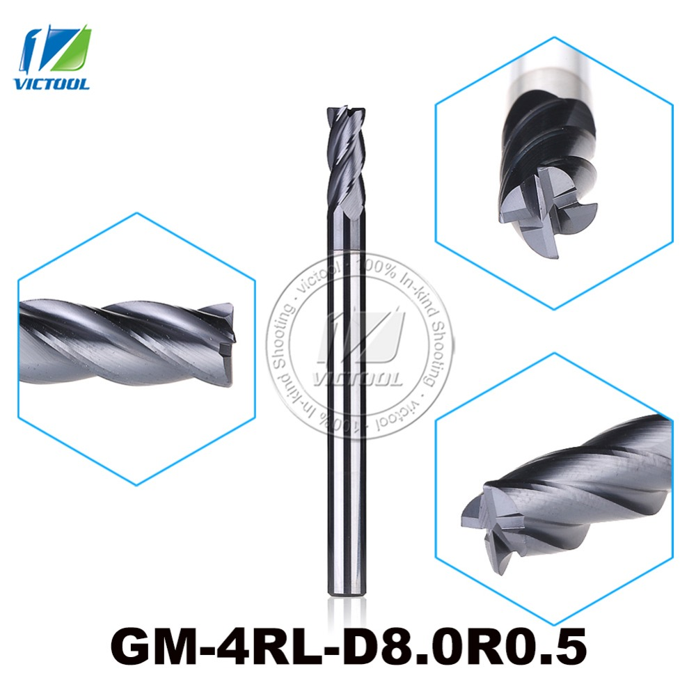 GM-4RL-D8.0R0.5 Cemented Carbide 4-Flute R End Mills Straight And long Shank Milling Cutter Metal Drill Bits Cutting Tools zcc ct gm 4el d4 0 cemented carbide 4 flute flattened end mills milling cutter