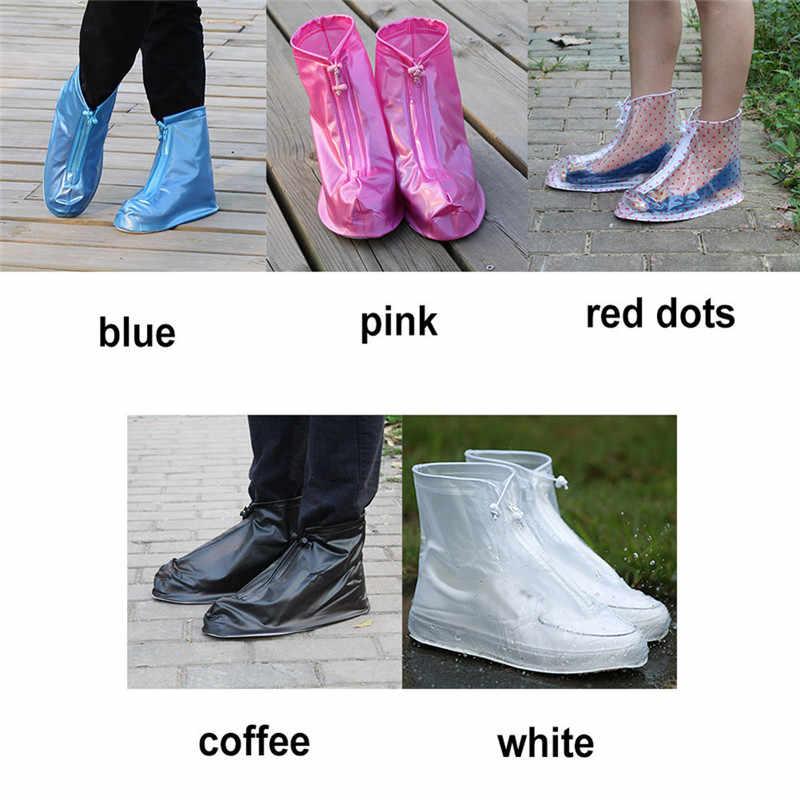 1 Pasangan Dewasa Anak-anak Sepatu Siklus Hujan Cetak Datar Slip-Tahan Overshoes Dapat Digunakan Kembali Menebal Tahan Air Hujan Sepatu Cover