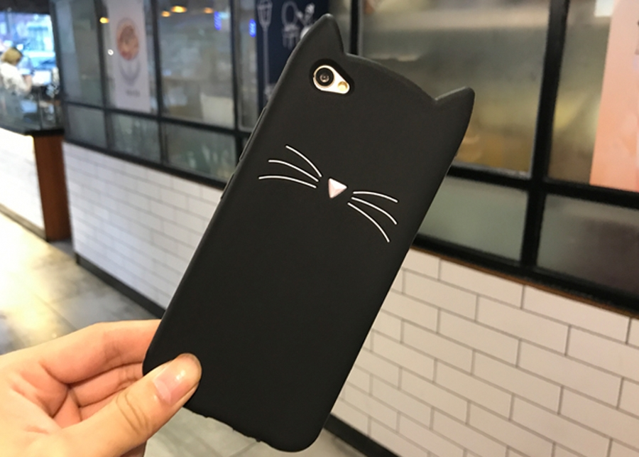Cute 3D Cartoon Beard Cat Kitty Glitter Phone <font><b>Case</b></font> for <font><b>ViVO</b></font> V7 V5 Y79 V3 <font><b>V3max</b></font> X20 X9s V5 Plus Soft Silicone Cover Fundas Coque image