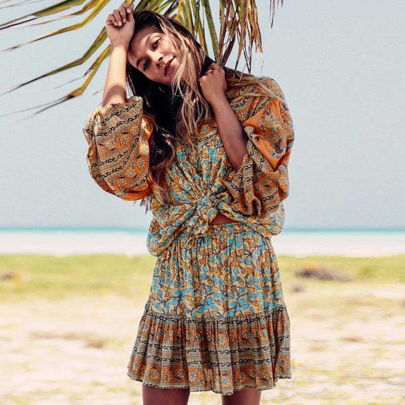 Khalee Yose Floral Print Boho Kimono Cardigan Vintage Women Blouse Maxi Kimono Robe Belted Summer Gypsy Long Blouse Beach Tops High Quality Materials Women's Clothing