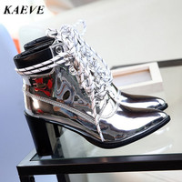 2017 new autumn mirror leather sapatos mulher lace boots ankle boot de salto alto high heel point toe patent leather martin boot