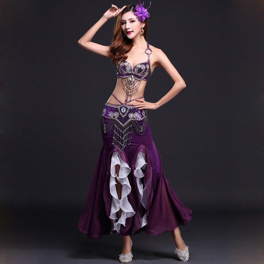Performance 7 Colors Women Oriental Dancewear 3pcs Outfit Bra Belt Skirt Long Beads Costume Belly Dance Professional