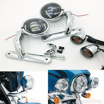 Motorcycle accessories Auxiliary Lighting Brackets w fog turn signal for harley touring Street Glide FL
