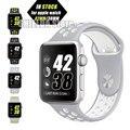2017 nova banda de silicone flexível para apple watch esporte banda de prata branco 42mm 38mm
