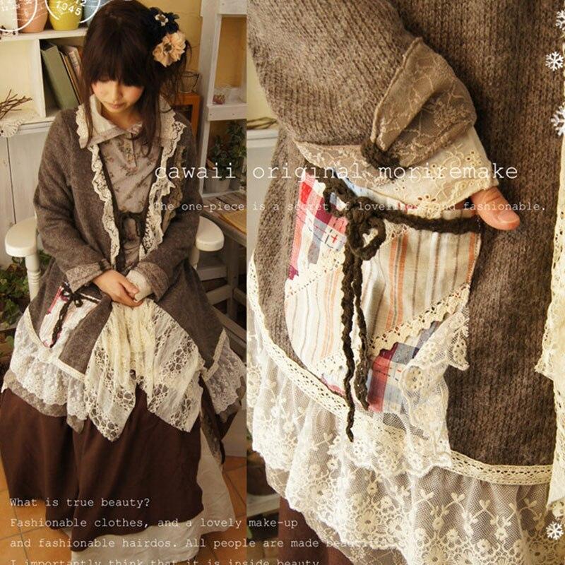 Women Spring Mori Girl Lolita Retro Sweet Lovely Sweater Patchwork Lace Cute Princess Female Shawls Sweater Knit Cardigan A053