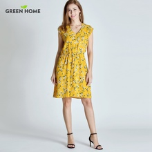 Green Home Floral Maternity Nursing Dress Four Colors Pregnancy Short Dress For Pregnant Women